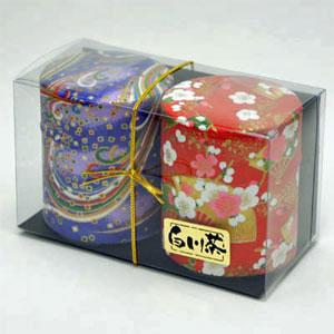 和紙缶2本入り白川茶